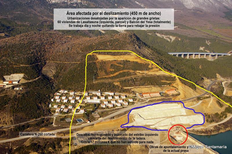 Imagen comentada de la zona de deslizamientos. Por Asociación Río Aragón.